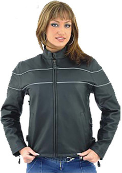 Women's Reflective Piping Naked Leather Racer Jacket with Air Vents - SKU LJ7900-11-DL