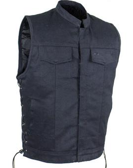 Men's Black Denim Motorcycle Club Vest with Zip Front - Big and Tall - CL-MV9320-ZIP-BD-DL