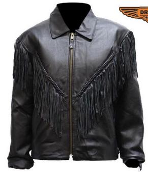 Women's Leather Motorcycle Jacket With Braid and Fringe - SKU LJ246-01-DL