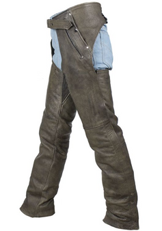 Men's Leather Chaps in Naked Distressed Brown Leather - Stretch Thigh. Big sizes including 4XL, 5XL, 6XL, 7XL, 8XL.