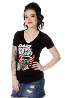 Women's Sliced Back Shirt - Dare Devil Heart - SKU 7680BLK-DS