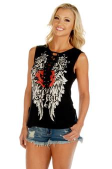 Women's Sleeveless Tank Shirt - Rock Star Gothic Graphic - Sleeveless - SKU 7570BLK-DS