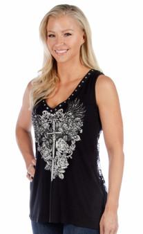 Women's V-Neck Shirt - Plunging Dagger - Daring Lace Back - SKU 7581-DS