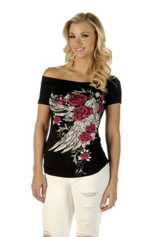 Women's Off Shoulder Blossomed Elegance Shirt - Roses and Feathers - SKU 7642BLK-DS