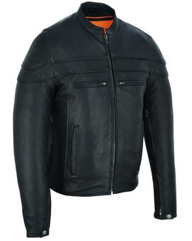 Men's Tall Leather Motorcycle Jacket - Big and Tall - Men's Racer Jacket - DS701TALL-DS