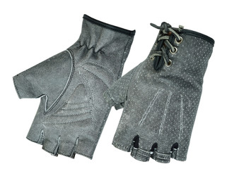 Women's Washed Out Gray Leather Motorcycle Gloves - Perforated and Fingerless -DS74-DS