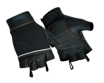Women's Mesh and Leather Motorcycle Gloves - Orange Contrast Stitching - Fingerless - DS2429-DS