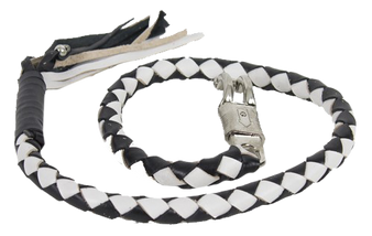 2 Inch Fat Get Back Whip in Black and White Leather - 42 Inches Long - GBW7-11-T1-DL