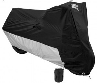 Defender Deluxe Motorcycle Cover - Black and Silver - Bike Cover - MC-904-DS