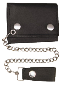 4 inch Black Leather Biker Chain Wallet - Tri-fold - SKU AL3200-AL