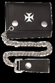 4 inch Black Leather Chain Wallet with Iron Cross - Tri-fold - SKU AL3276-AL