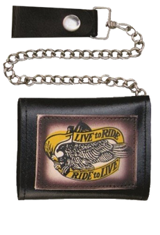 4 inch Black Leather Chain Wallet with Live To Ride - Tri-fold - SKU AL3273-AL