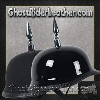 4.5 Inch Spike German Novelty Motorcycle Helmet Flat or Gloss - SKU GRL-4.5INCH-SPIKE-GERMAN-NOV-HI