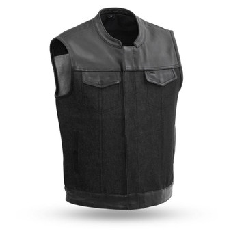 49/51 Men's Denim & Leather Combo Vest - GRL-FIM662DM-FM