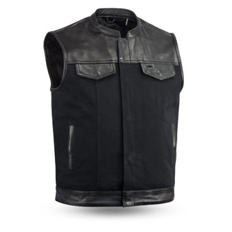49/51 Men's Leather & Canvas Vest Combo - Up To Size 8XL- FIM4951CNV-C