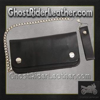 6 inch Black Leather Chain Wallet / Bifold / SKU GRL-AC50-DL