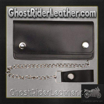 6 inch Black Leather Chain Wallet / Bifold / SKU GRL-AL3201-AL