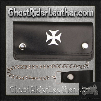 6 inch Black Leather Chain Wallet with Iron Cross / Bi-fold / SKU GRL-AL3283-AL