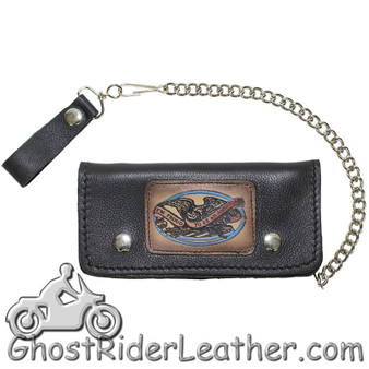 7.75 inch Heavy Duty Black Leather Chain Wallet - American Pride - Bifold - SKU GRL-WALLET3-11HD-DL