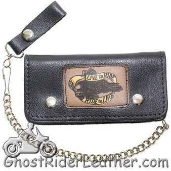7.75 inch Heavy Duty Black Leather Chain Wallet -Live To Ride - Bifold - SKU GRL-WALLET2-11HD-DL