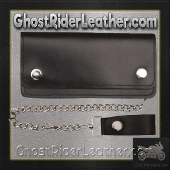 8 inch Black Leather Chain Wallet / Bifold / SKU GRL-AL3202-AL