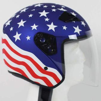 America DOT Motorcycle Helmet with Flip Shield - SKU GRL-RK5A-HI