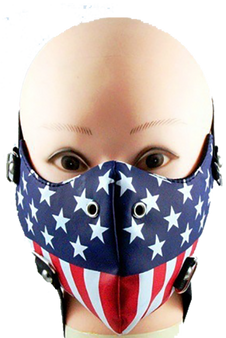 American Flag Half Face Mask in Pleather - Motorcycle Mask - FMW49-HI