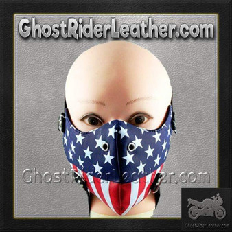 American Flag Half Face Mask in Pleather - SKU GRL-FMW49-HI