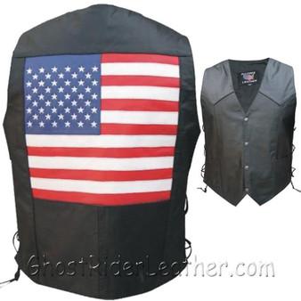 American Flag Leather Biker Vest with Side Laces - SKU AL2218-AL
