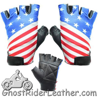 American Flag Riding Gloves - Fingerless Motorcycle Gloves - SKU GL2034-DL