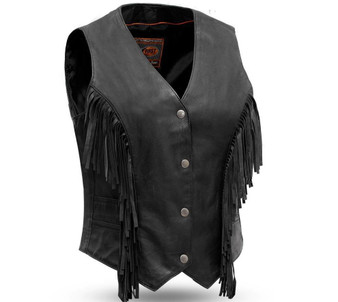 Apache - Women's Fringe Leather Vest - SKU FIL572DM-FM