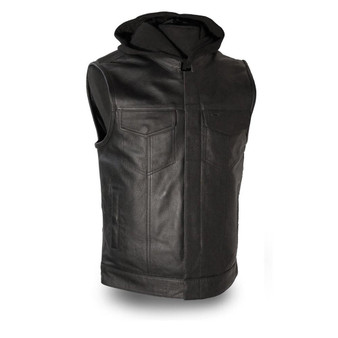 Assassin  |  Mens Leather Motorcycle Vest with Hood - GRL-FIM687CSL-FM