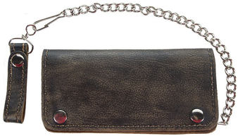 Bifold - Distressed Brown Leather Chain Wallet - SKU AC51-12HD-DL