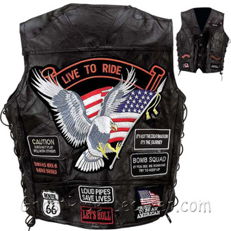 Big Sizes - Mens Diamond Plate Patchwork Leather Vest With Concealed Carry - 14 Patches - SKU GRL-GFVBIK144X-7X-BN