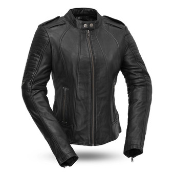 Biker - Women's Leather Motorcycle Jacket With Vents - SKU FIL104SDMZ