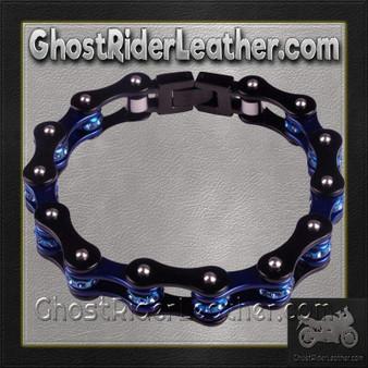 Black and Blue Motorcycle Chain Bracelet with Gemstones - SKU GRL-BR42-DL