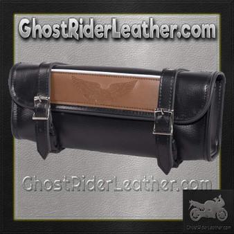 Black and Brown PVC Motorcycle Tool Bag - Fork Bag 10 or 12 Inch - SKU GRL-TB3041-DL