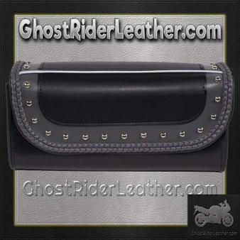 Black and Gray PVC Motorcycle Tool Bag - Fork Bag 10 or 12 Inch - SKU GRL-TB3030-DL