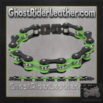 Black and Green Motorcycle Chain Bracelet with Gemstones - SKU GRL-BR37-DL