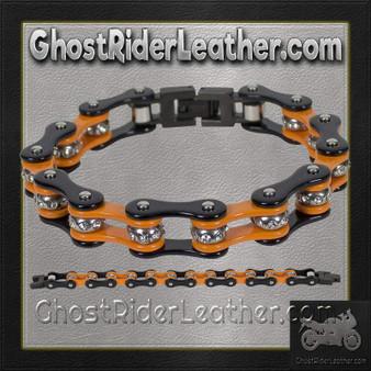 Black and Orange Motorcycle Chain Bracelet with Gemstones - SKU GRL-BR36-DL