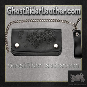 Black Leather Chain Wallet with Embossed Dragon - Bifold - SKU GRL-WALLET8-DL