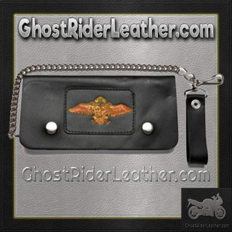 Black Leather Chain Wallet with Wings Design / Bifold / SKU GRL-WALLET11-DL