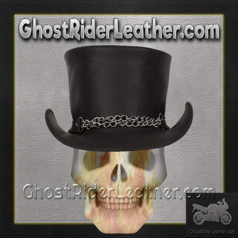 Black Leather Deadman Top Hat with Chrome Chain / SKU GRL-HAT8-11-DL