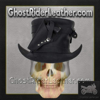 Black Leather Deadman Top Hat with Gun Holsters / SKU GRL-HAT7-11-DL