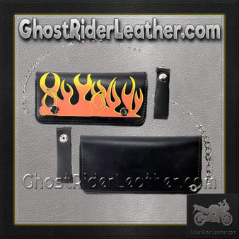 Black Leather Flame Wallet with Chain / SKU GRL-WALLET1-DL