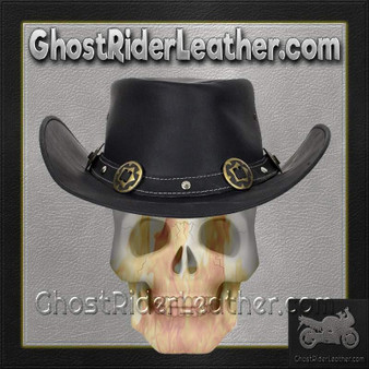 Black Leather Gambler Hat with Conchos / SKU GRL-HAT12-11-DL