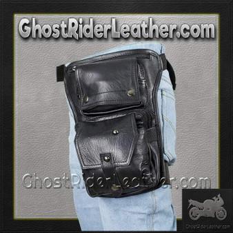 Black Leather Multi Pocket Thigh Bag with Gun Pocket - SKU GRL-AC1025-11-DL