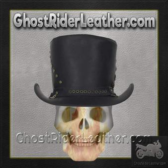 Black Leather Top Hat with Brass Studs / SKU GRL-HAT15-11-DL