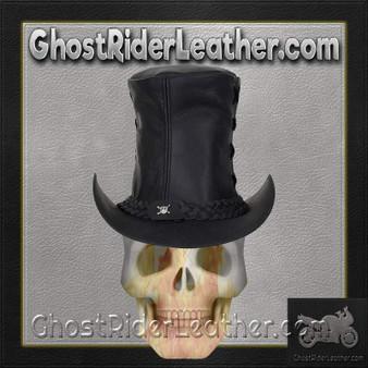 Black Leather Top Hat with Chrome Skull / SKU GRL-HAT14-11-DL