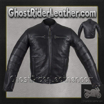 Black Pleated Racer Leather Jacket with Concealed Carry Pockets / SKU GRL-MJ828-DL